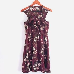 converse Plum Satin Ruffle Floral Print Dress